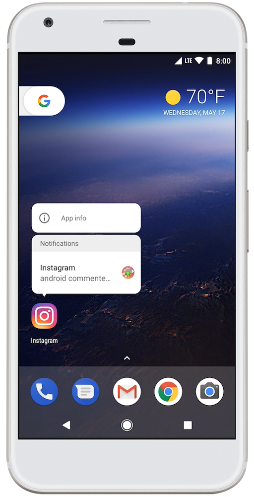 A notification long-press menu in Android 8.0 (API level 26).