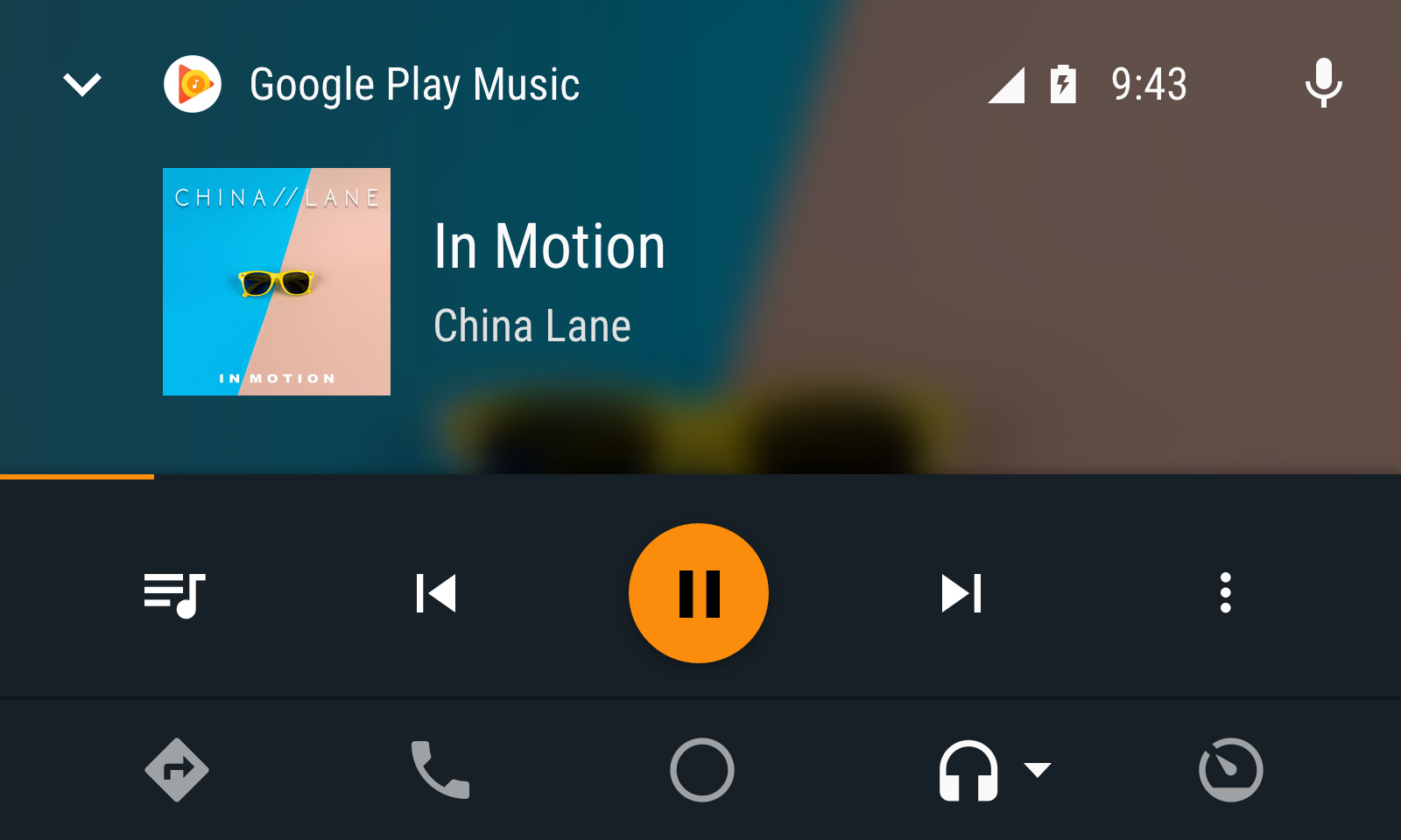Audio app in night mode