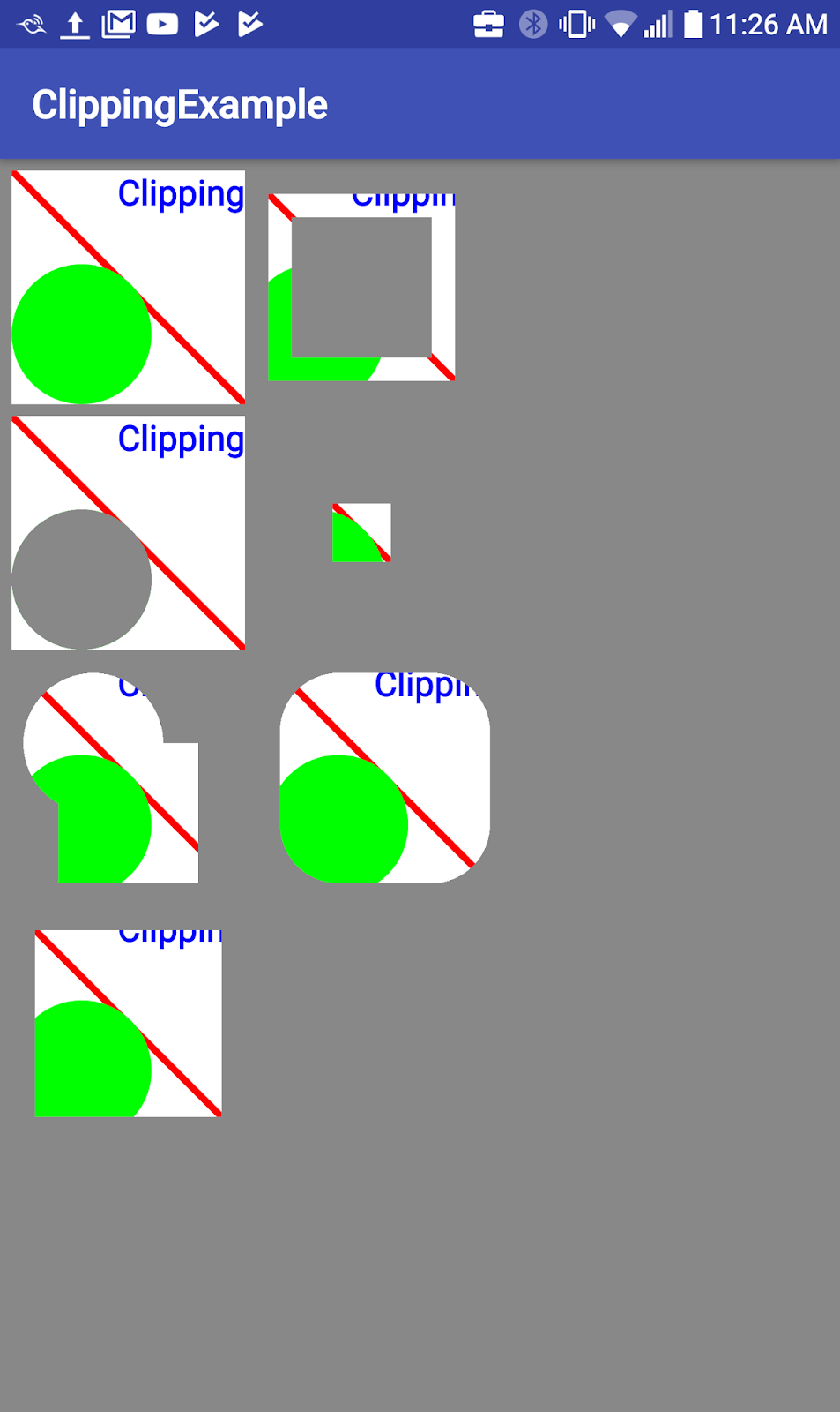 Clipping rectangle for one square