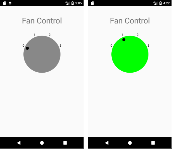 The CustomFanController app shows a custom view for the controller, with settings from 0 (off) to 3 (high).