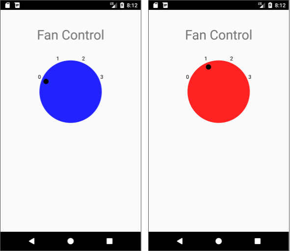 """The dial's color for the """"off"""" position (left) is blue and for all """"on"""" positions (right) is red."""