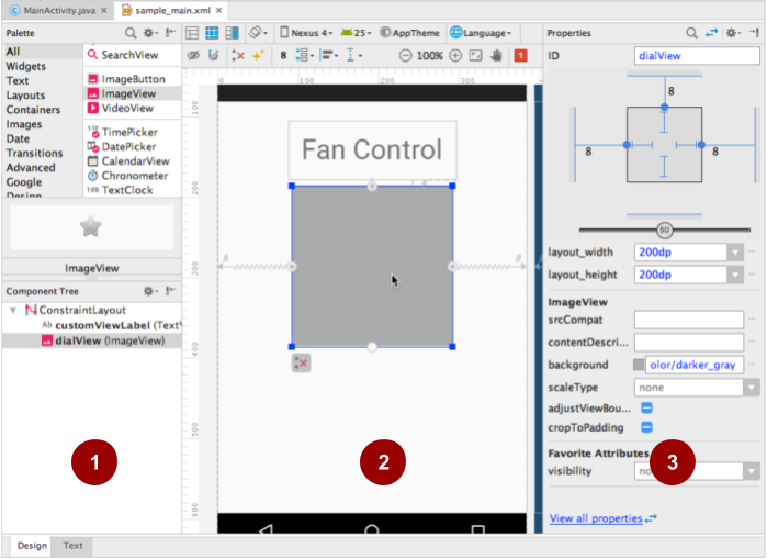 The layout of the CustomFanController app with a blank ImageView as a placeholder for the fan controller.