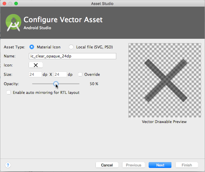 """Add the clear icon with 50% opacity for the """"gray"""" version."""