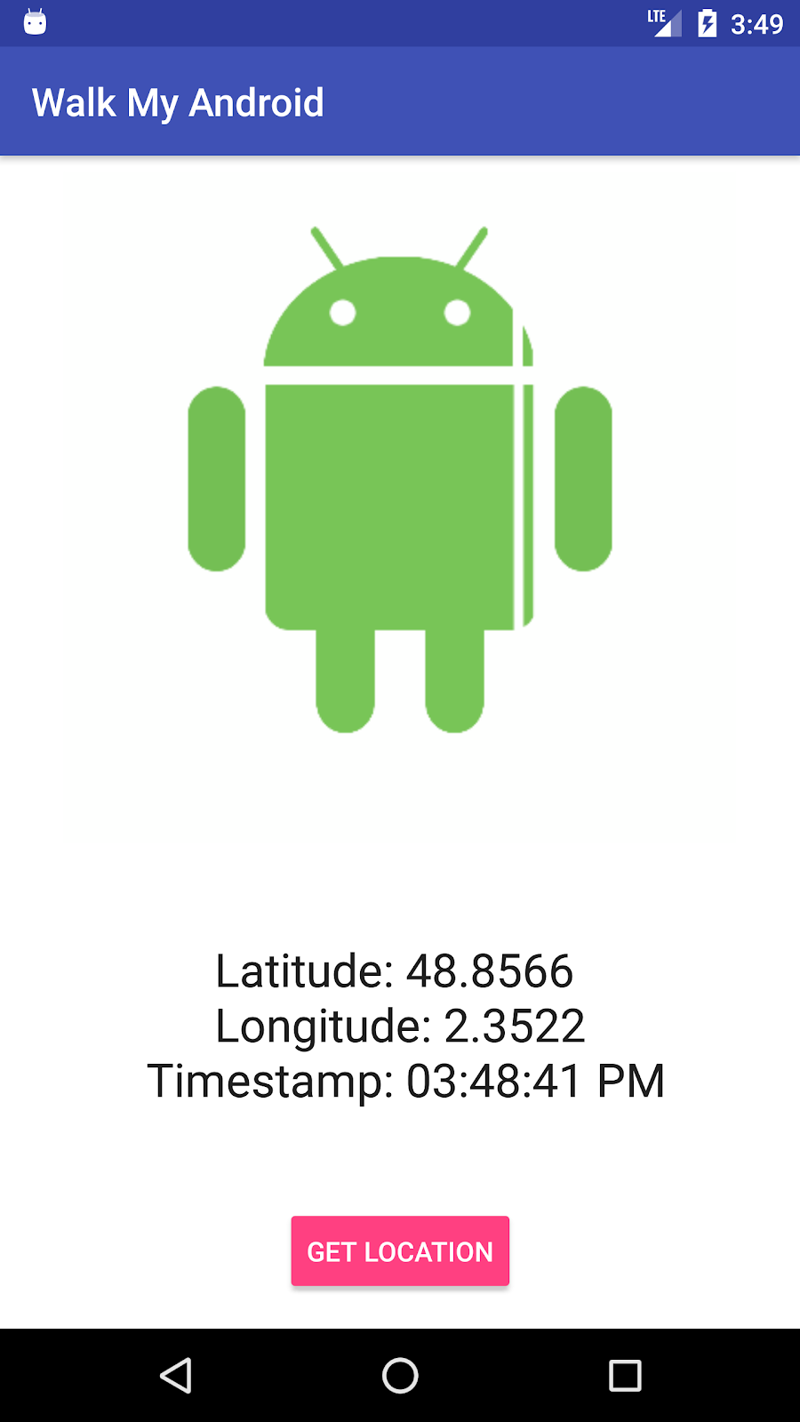 First step of the WalkMyAndroid app