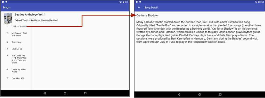 Tapping a song title to see the song details on a tablet.