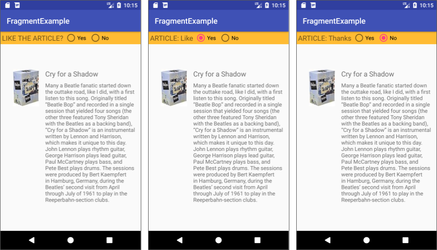 The FragmentExample app shows a fragment with radio buttons.