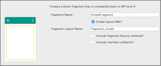 Creating a blank fragment with a layout.
