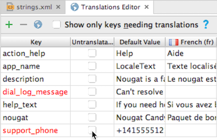 Translations appear in the language column (French)