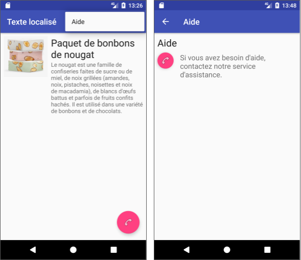 The LocaleText app in French