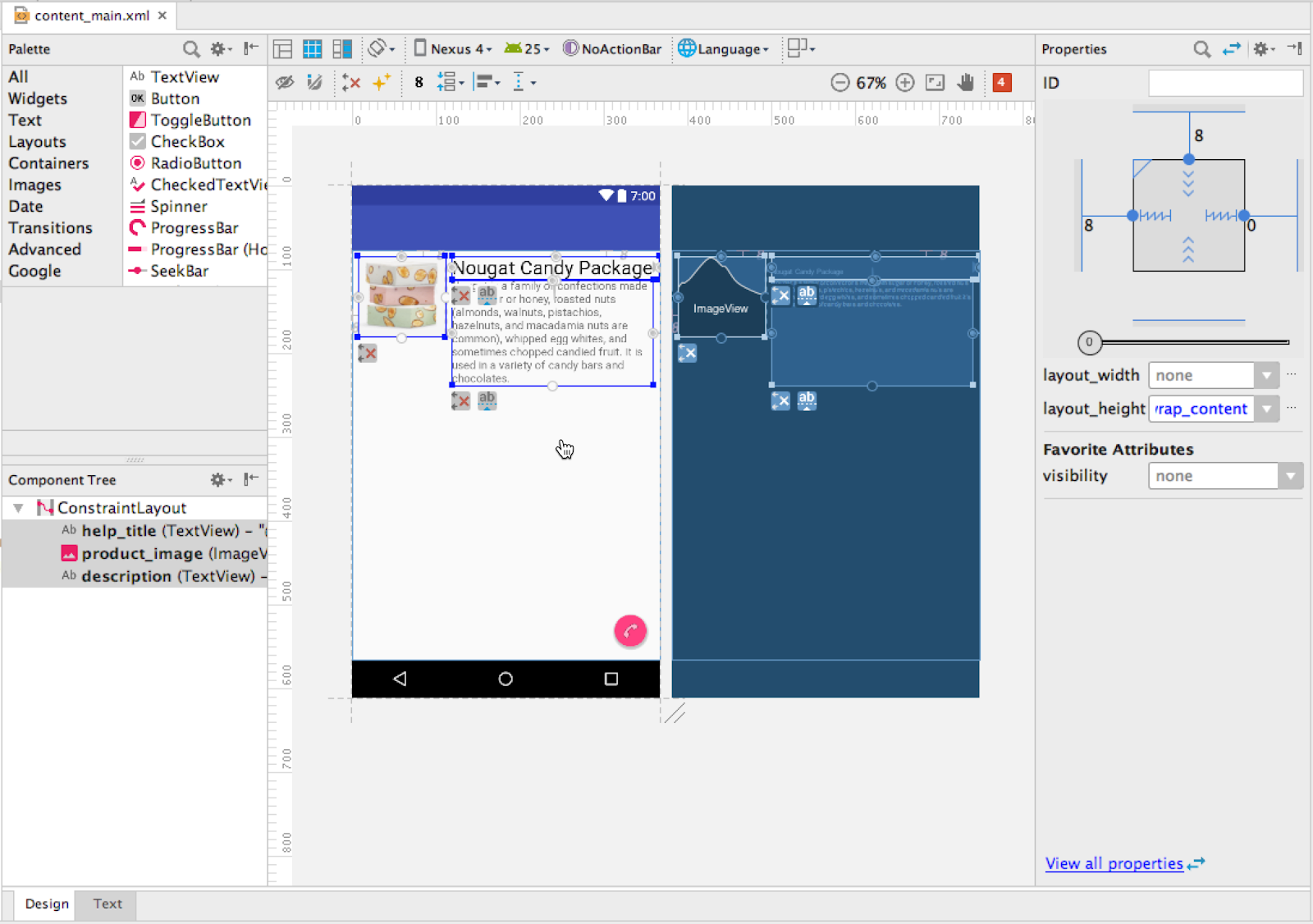 ConstraintLayout with an ImageView and two TextViews