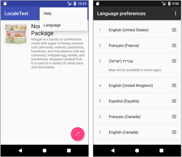 In the finished app, the user taps Language in the options menu to go directly to the language list in Settings.