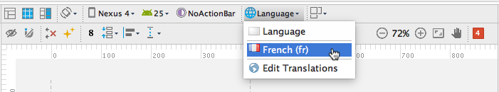 Select the language from the Language menu in the Layout Editor.