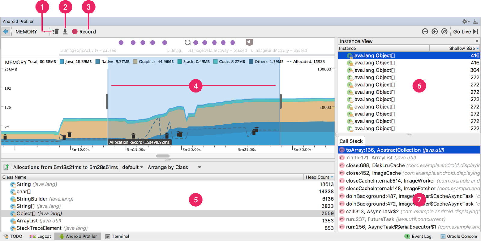 Memory Profiler, with results from a memory allocation recording. The screenshot shows all panes opened.