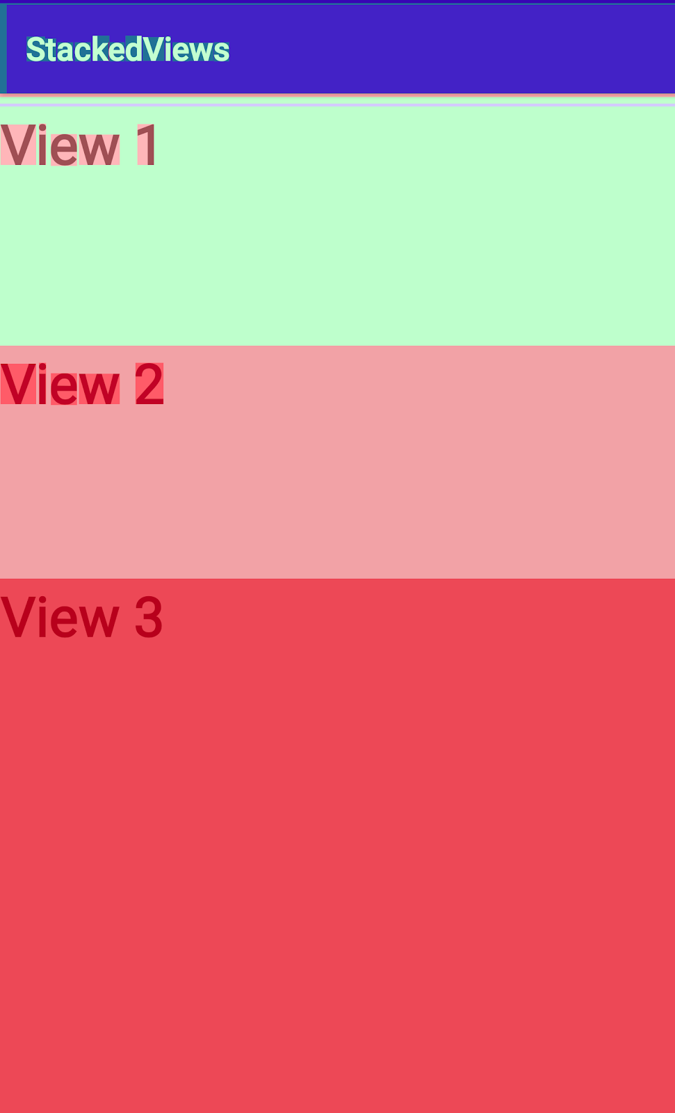 Demo app with stacked views to show overdraw.