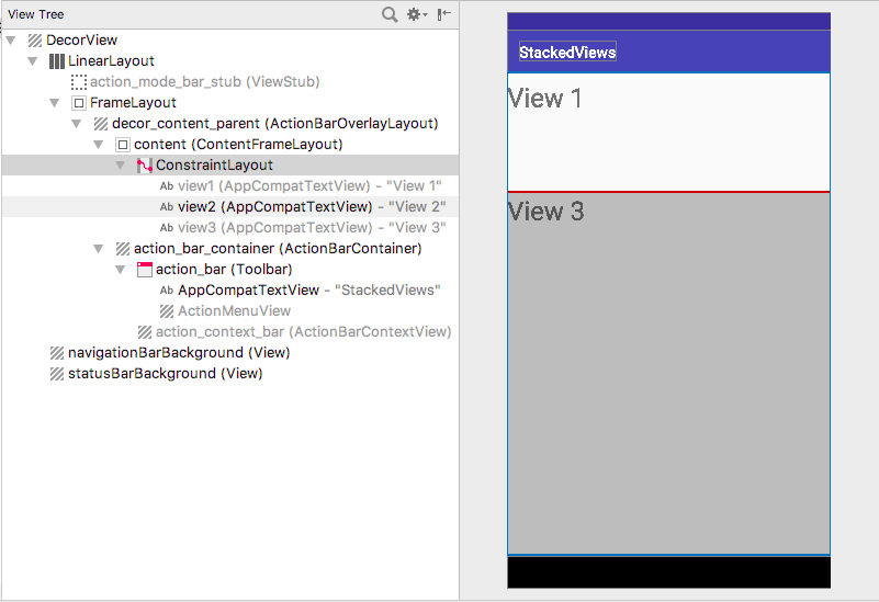 After disabling Show in preview for overlapping views, the bottom view, View 2, can be outlined.