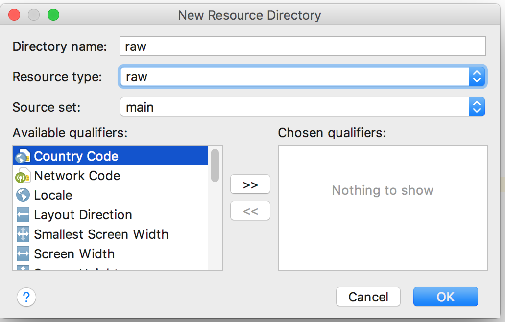 Create a raw resource directory in the project