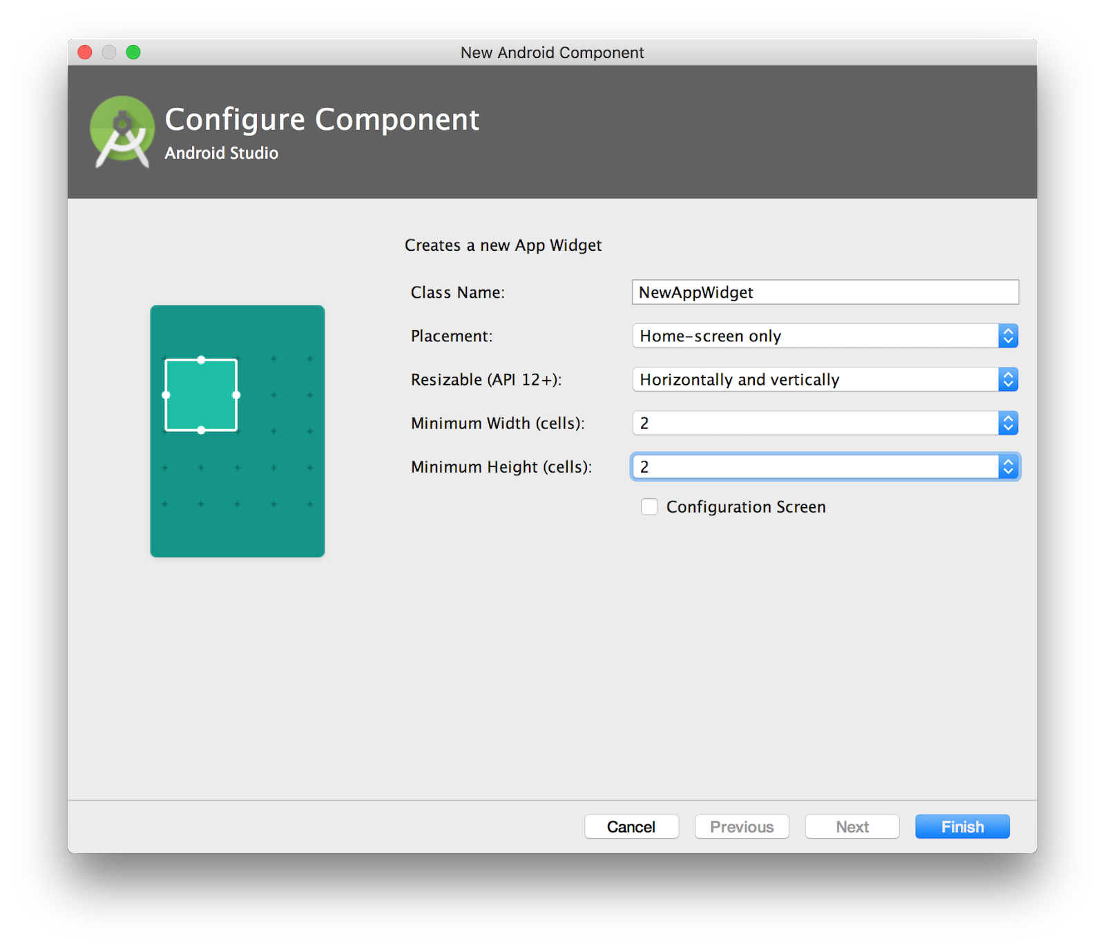 and click Finish.   [IMAGEINFO]: new-widget.png, Adding a new widget in Android Studio