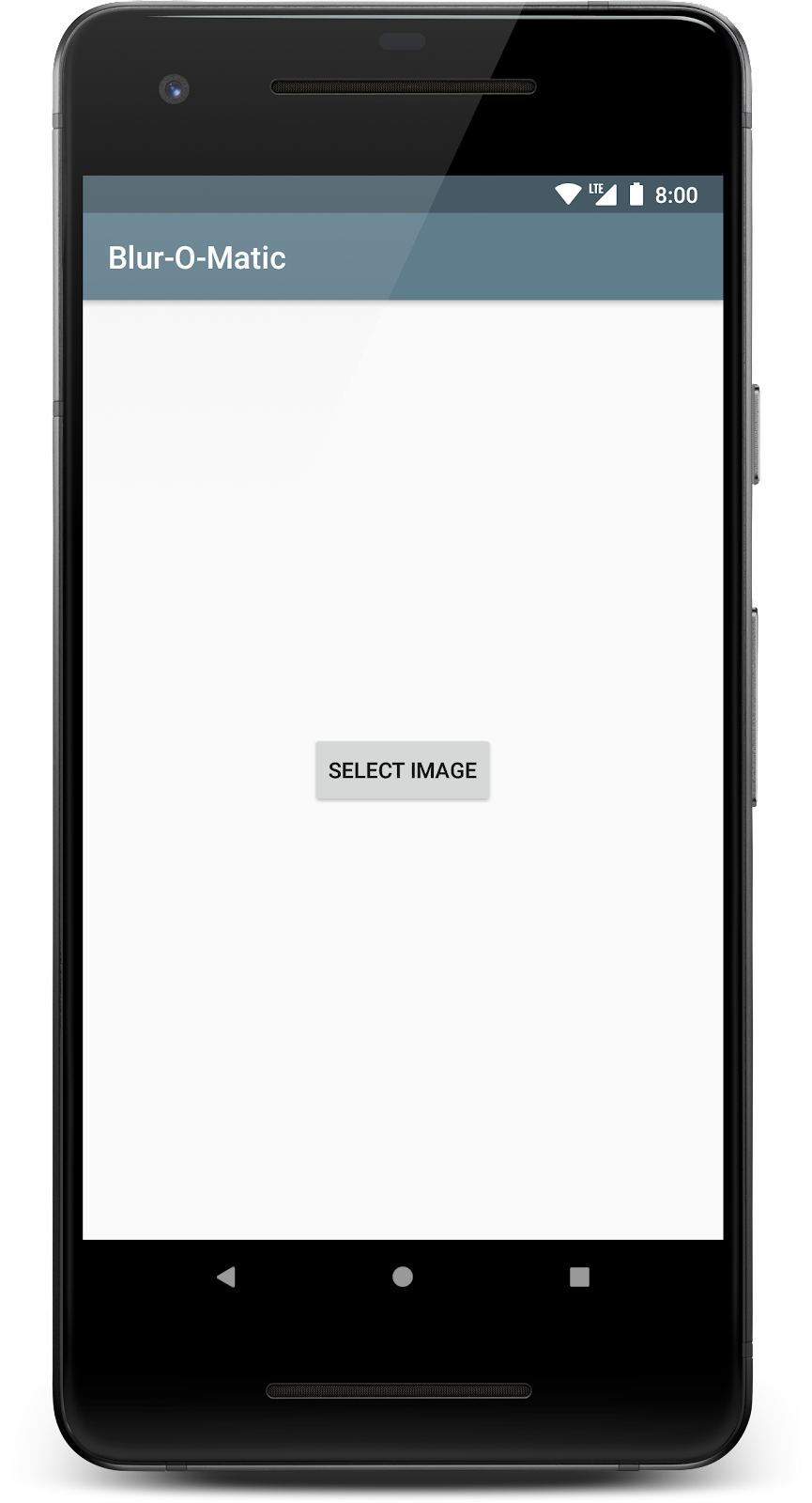 First screen of app when launched for the first time. Select Image button shown on screen.