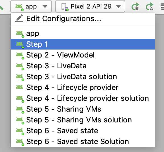 Shows 11 configurations. App and then steps 1 to 6 with solutions for step 3, 4, 5 and 6.