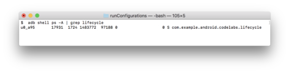 Result of the previous command shows a line with the running process.\n