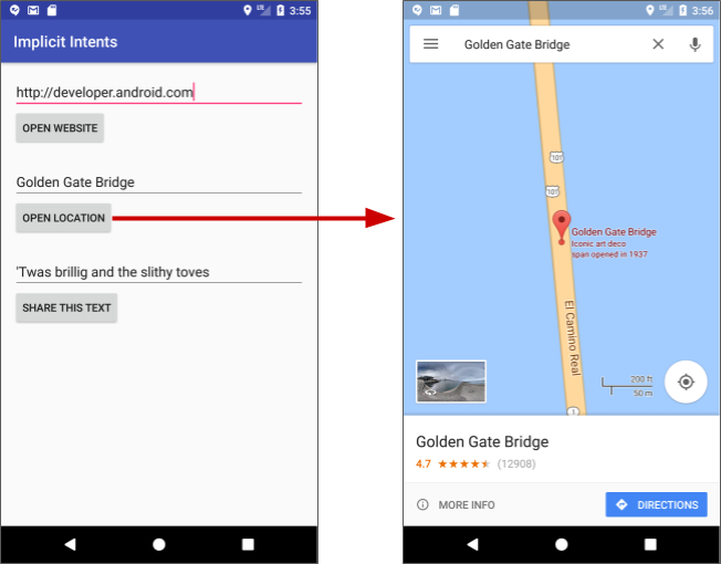 Clicking Open Location (left) to launch a map showing the location (right)