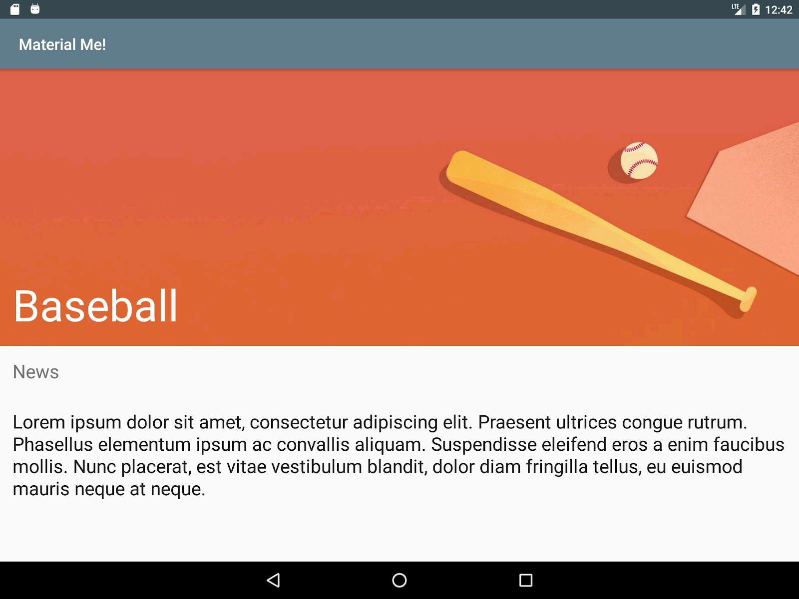 Tablet running the MaterialMe app with styles to make the text larger