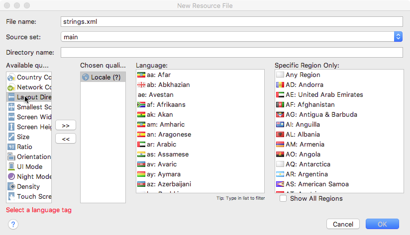 Clicking the Locale qualifier presents choices for language and region.