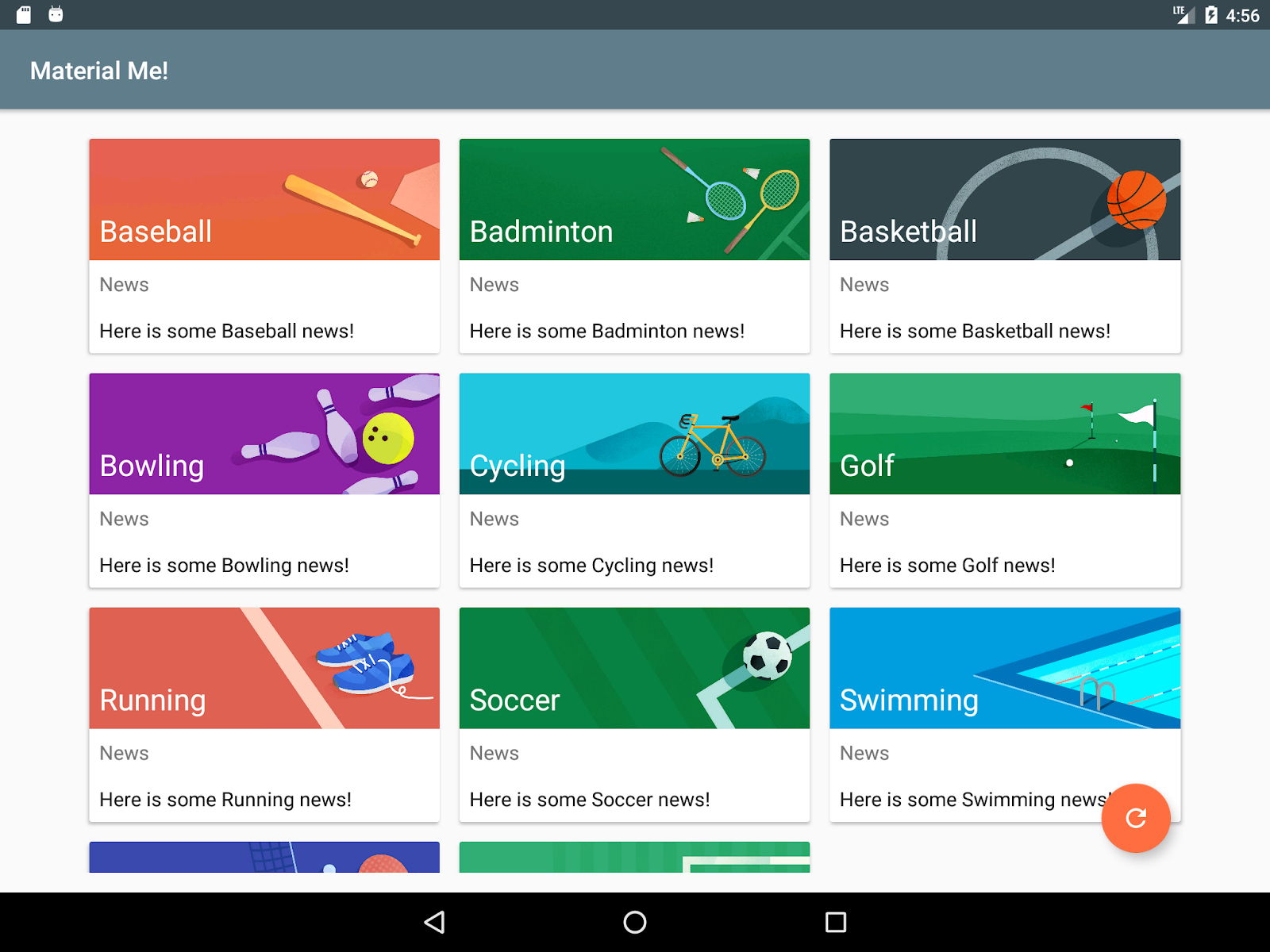 Tablet running the MaterialMe app with qualifiers to show 3 columns in landscape mode
