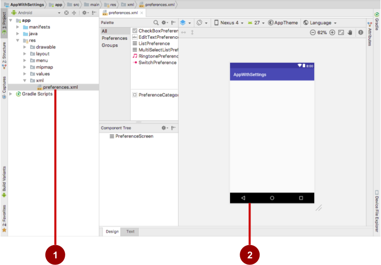 Layout editor for preferences.xml