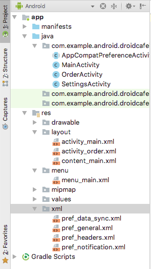 XML files for the Settings Activity
