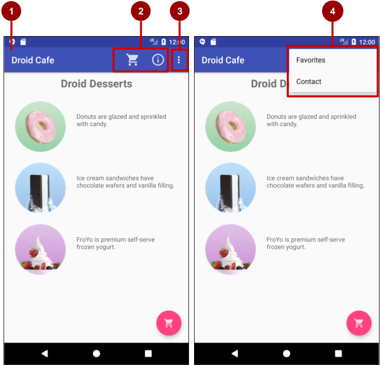 The options menu in the app bar