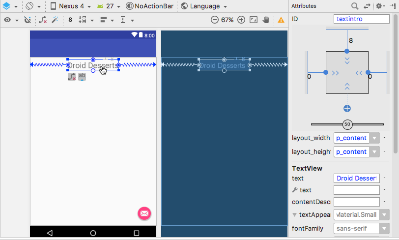 Layout with the first TextView