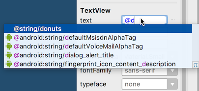 Entering a text resource in the Attributes pane