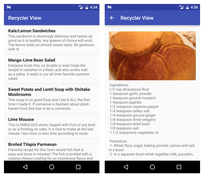 Sample implementation screens for recipe app