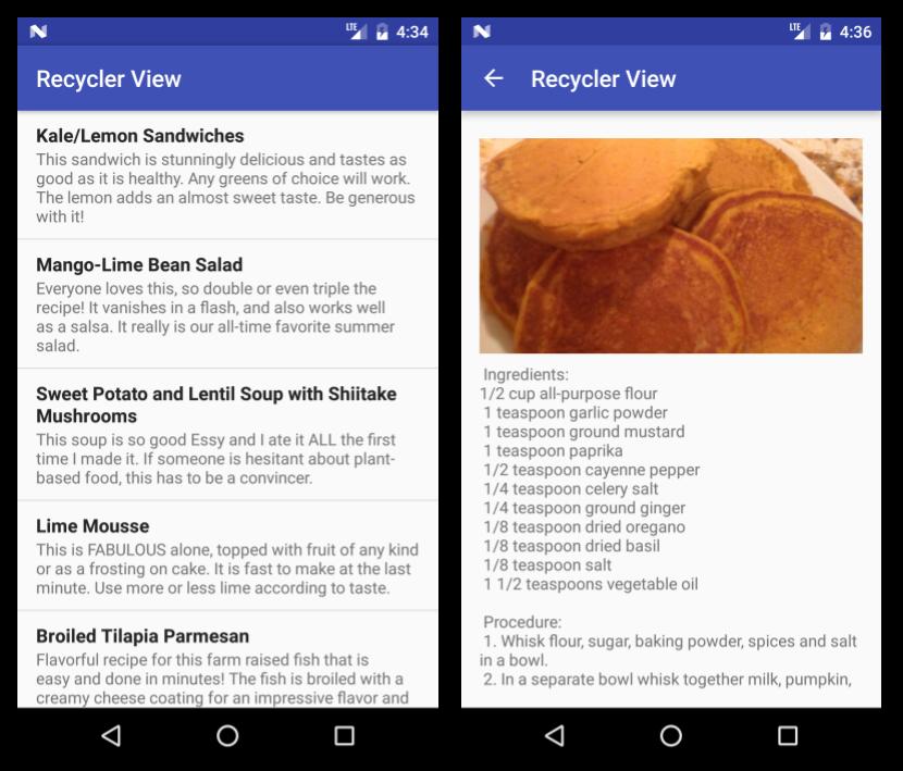Sample implementation screens for recipe app