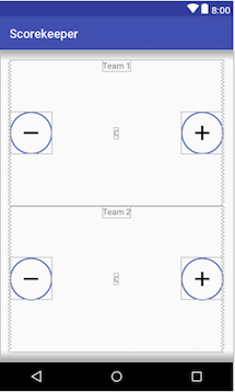 Scorekeeper layout with the ShapeDrawable