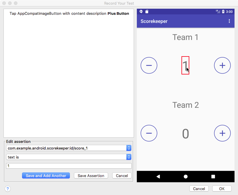 Adding an assertion about the value of the UI element to the recording