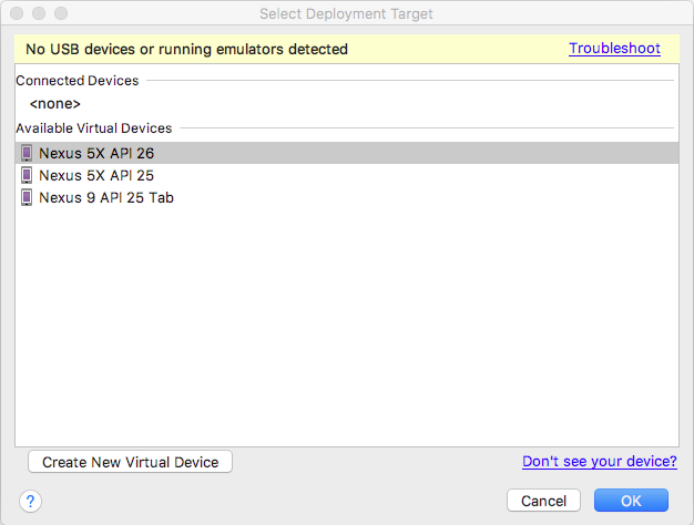 Selecting the virtual device