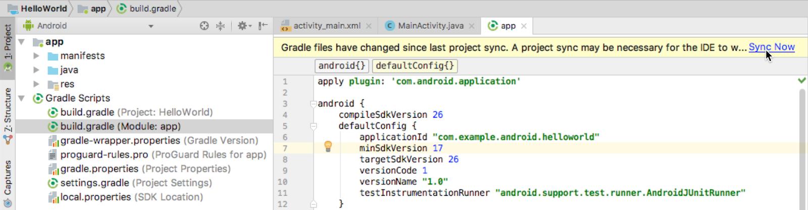 Changing the app Gradle configuration