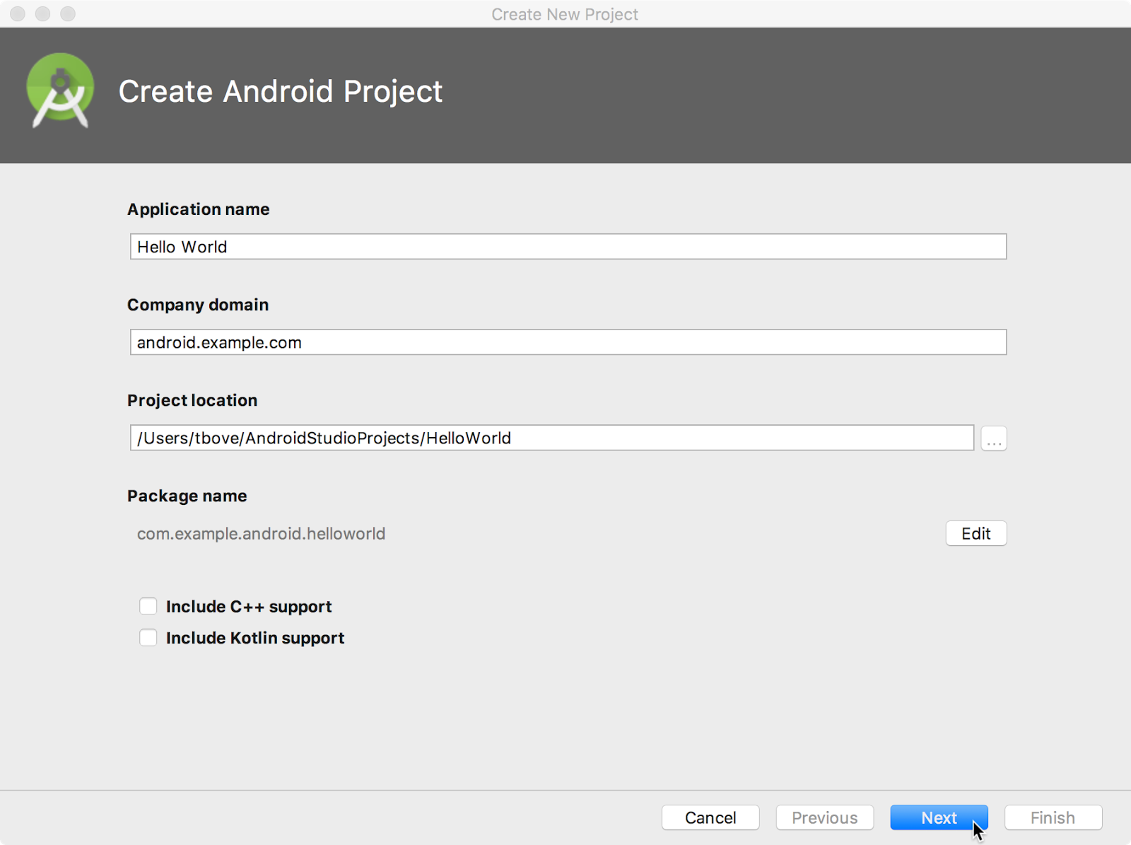 Create Android Project window