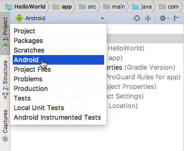 The Project > Android pane