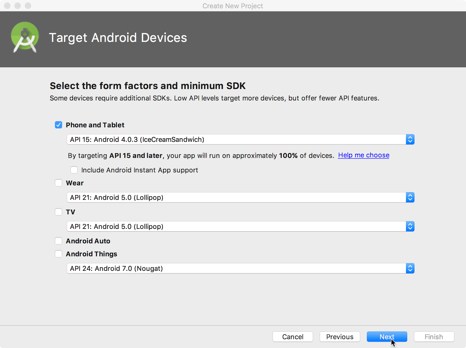 Selecting the target Android devices for the app