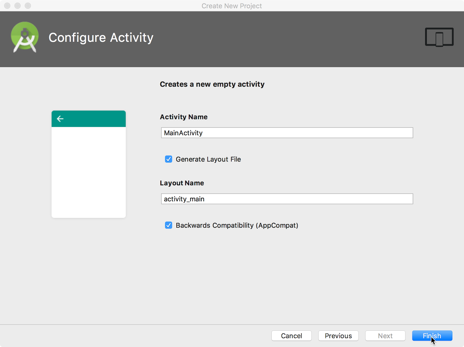 Configuring the Activity