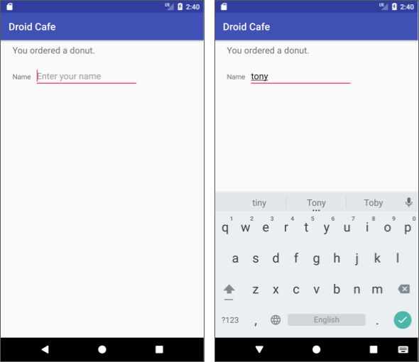 Tap inside the text entry field to show the keyboard