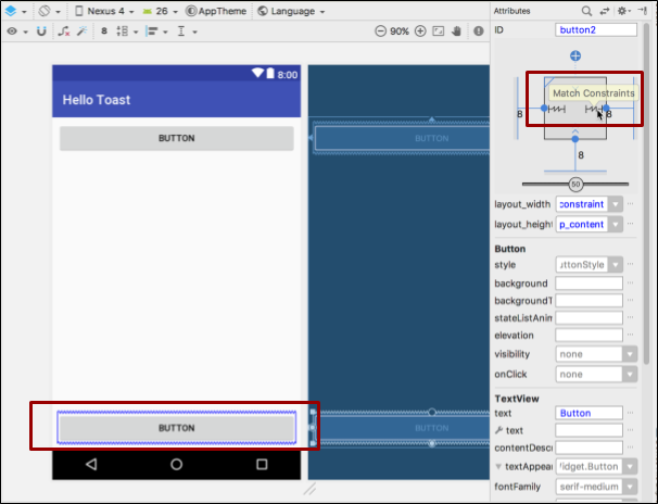 Changing the width and height attributes for the second Button