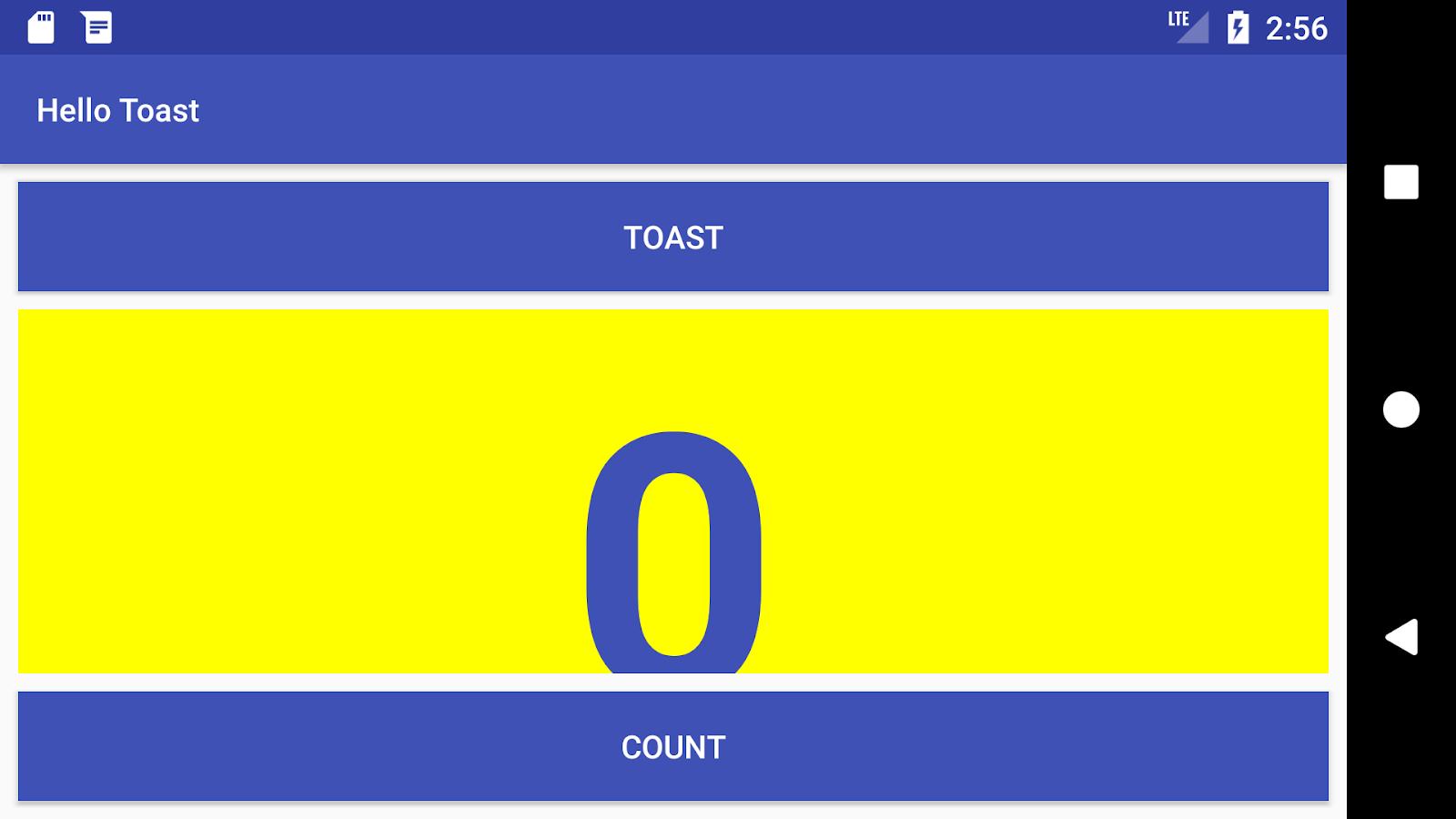 The Hello Toast app in horizontal orientation