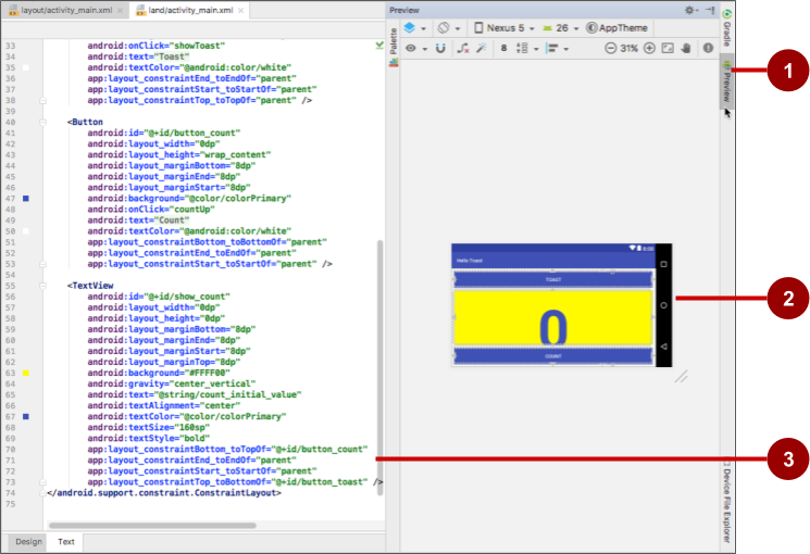 The Text tab shows the layout's XML code and its Preview tab shows a preview.