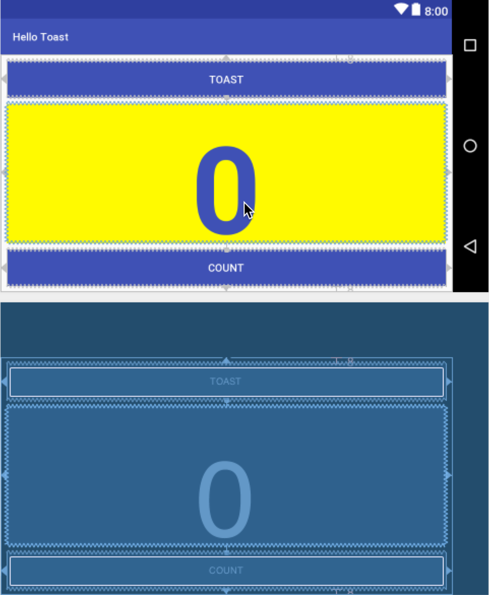 The Hello Toast layout in horizontal (landscape) orientation