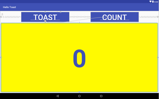 IMAGEINFO]: hello_toast_tablet_layout_preview_horiz2.png Preview of the tablet layout variant in horizontal orientation with the Button elements centered horizontally.