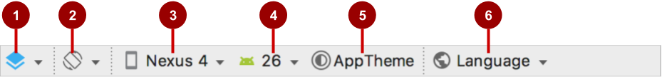 Layout editor viewing top toolbar